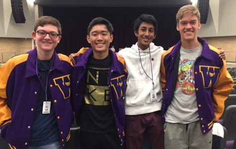 Geoffrey and his friends smile as they wear their jackets (Nathan Weiss, Vincent Mercado, and Nithin Kalla) Courtesy of Geoffrey Englin